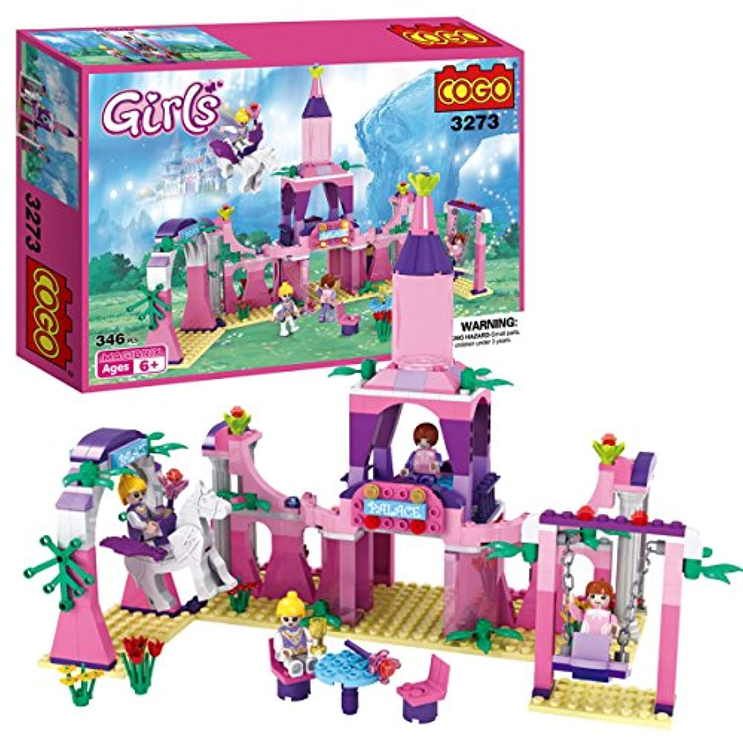 COGO Girls Blocks Magical Castle the Dream Magical World Enchanted Palace Construction Toys Play Set . Girls Christmas Gift for Girls Kids 3273C 346 Pcs