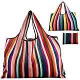 Reusable Grocery Bag Gophra 2 Packs Large Washable Foldable Eco Friendly Nylon Heavy Duty Fits in Pocket Shopping Tote Bag (N