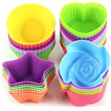 LetGoShop Silicone Cupcake Liners Reusable Baking Cups Nonstick Easy Clean Pastry Muffin Molds 4 Shapes Round, Stars, Heart,