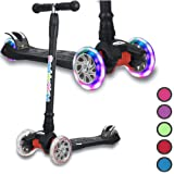 Kick Scooter for Kids, 4 Adjustable Height, Lean to Steer with PU Light Up Wheels, Training Balance Toys for Children from 2