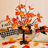 CEWOR Fall Maple Tree Lights with 100pcs Maple Leaves Light up Thanksgiving Decoration Table Centerpiece 1.8ft 24 LED Lighted