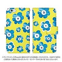 ARROWS NX F-01F 手帳型 ケース [デザイン:2.黄×青花/マグネットハンドあり] 水彩花 アロウズ スマホ カバー