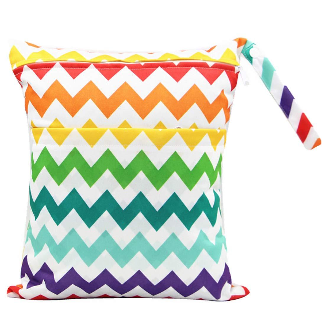 JAPAN おむつポーチ おむつバッグ 防水バッグ オムツ収納 軽量 お出かけ 赤ちゃん用品 カラフルな波