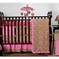 Cheetah Animal print Pink and Brown Baby Girl Bedding 9pc Crib Set by Sweet Jojo Designs