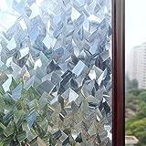 Rabbitgoo 3Dガラスフィルム 窓用フィルム 目隠しシート 装飾フィルム プライバシーガラスシート 遮熱断熱 紫外線カット 無接着剤 水で貼れる 貼り直しでき 再利用可能 DIY(90 x 200cm)