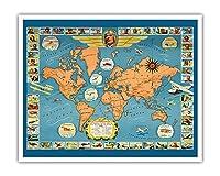 世界の有名な飛行機と航空路 - チャールズ リンドバーグ - パン・アメリカン航空(PAA) - ユナイテッド航空 - ビンテージな航空会社のポスター c.1937 - アートポスター - 41cm x 51cm