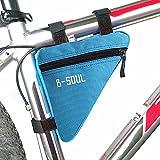 自転車用 トライアングル型バッグ  ?三角形のバイク 自転車フロントチューブ フレーム ポーチ バッグ  ホルダー サドル パニエ サイクリングバッグ ブルー