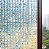 Rabbitgoo®3D窓用フィルム ガラスフィルム 窓めかくしシート 浴室装飾フィルム 断熱 紫外線カット 無接着剤 再利用可能 プライバシーガラスフィルム アップグレード版 (60 x 200cm)