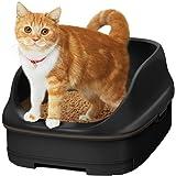 [Amazon限定ブランド] スマイリーBOX 猫用トイレ本体 ニャンとも清潔トイレセット [約1か月分チップ・シート付] オープンタイプ カフェブラウン&チャコール (猫ちゃん想い設計) 猫砂