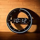 Cozyswan リング型デジタル時計 静音 光センサー ウォームホワイト おしゃれ 置き時計 壁掛け可能 LEDスクリ…