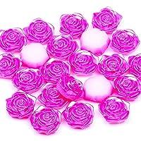 18ミリメートル200個の色のバラ花形プラスチック製のABSビーズフラットバックカボションDIYの宝石工芸のための模造真珠ビーズ(21ローズ)