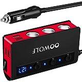 【急速充電QC3.0・180W・1M】OOWOLF 3連シガーソケット 最大180W 4*USBポート 車用 カーチャージャー シガレットライターソケット付き Quick Charge 3.0 12-24V車対応 車載充電器 LED電圧表示 スマート