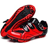 Mountain Bike Shoes Men's Cushioning Cycling Shoes,Breathable Mesh Spin Cycling Shoe Compatible with SPD Cleats,Microtex MTB