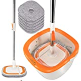 360 Self-Wringing 2 in 1 Spin Mop and Bucket System with Wringer,Comb,6PCS Reusable Washable Refills,Telescopic Handle for Mo