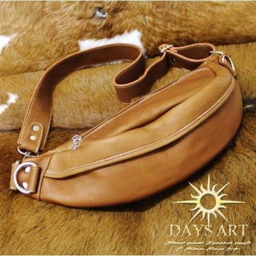 Days Art(デイズアート)牛革 カーフスキン レザービーズ型ボディバッグ ワンショルダー 斜め掛けショルダーバッグ ブラウン