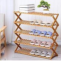 シューズラック- 5段靴ラックソリッドウッドシンプルな収納キャビネット家具竹オーガナイザー棚Foldable (サイズ さいず : 60 cm 60 cm)