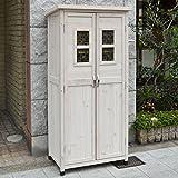 木製収納庫 Potager ポタジェモザイク ハイタイプ (高さ160cm×幅80cm×奥行き50cm) ウォッシュホワイト