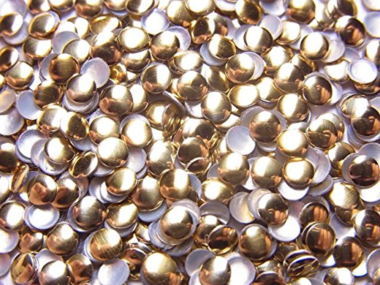 ぜいたく罪マーケティング【jewel】メタルスタッズ 多種類 ゴールドorシルバー 各サイズ 選択可能 (丸(ラウンド) 3mm, ゴールド)