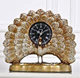 クロックxiaolangリビングルームの振り子時計、そして創造的な孔雀のデスククロッククロック、時計、レトロな応接間と創造表時計の鐘、部屋の装飾を生きている記事を家具デスククロック、クォーツ時計、 壁時計 (色 : New Peacock Desk Clock)