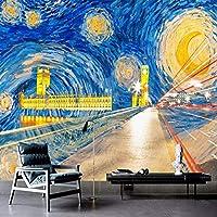 Bzbhart テレビの背景装飾画、壁用ステッカーカスタム写真の壁紙3Dゴールデンスワール市建物油絵壁画リビングルームのソファ寝室の背景壁-350cmx245cm