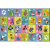 [Kev & Cooper]Kev & Cooper Playtime Collection ABC Alphabet Animal Educational Area Rug 5'0 x 6'6 KCP010001-5x7 [並行輸入品]