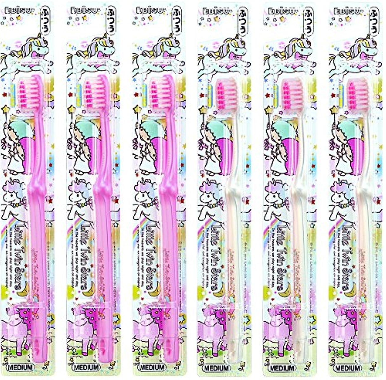 不完全なラメパターンエビス キャラコレ リトルツインスターズハブラシ ふつう 6本組 色おまかせ