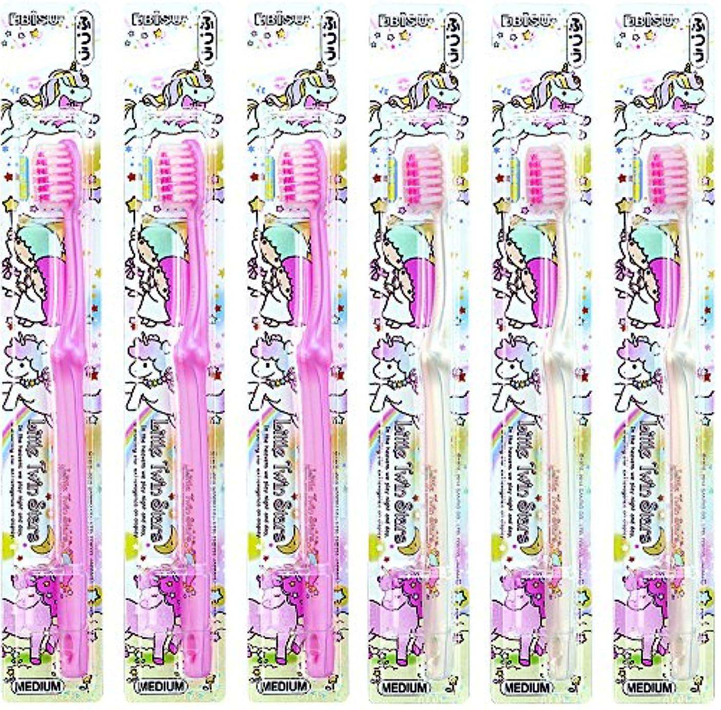 リス広々とした水没エビス キャラコレ リトルツインスターズハブラシ ふつう 6本組 色おまかせ