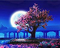 Paint by Numbers Kit 16x20inch Diy Moon Night Landscape Painting for Home Decor