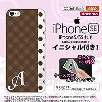 iPhone SE スマホケース ケース アイフォン SE ソフトケース イニシャル チェック・ドット 茶 nk-ise-tp1525ini J