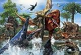 40ピース ジグソーパズル ティラノサウルスVSモササウルス ラージピース(26x38cm)