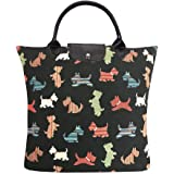Signare Black Re-usable Tapestry Fold-able Shopping Grocery Bag in Scottie Dog Design (FDAW-SCOT)