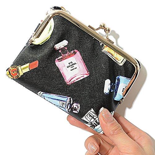 ブラックB/コスメ F (ディーループ)D-LOOP かわいい 総柄プリント がま口 折りたたみ財布 ミニ財布 レディース 大容量 二つ折り財布 レディース PUレザー 2つ折り財布 カード かわいい おしゃれ 女子 小銭入れあり 121758-010-043