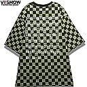 VIISHOW 半袖Tシャツ 新品 オリーブxブラック チェックTシャツ ファッション カジュアル ジャージ トレンド プルオーバー Tシャツ
