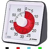 LivingHall タイマー キッチン 60分 視覚タイマー 教室のカウントダウンクロック 子供と大人のためのサイレントタイマー 授業時間管理ツール (ブラック, 7.8cmX7.8cmX4cm)