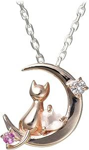 選べる 誕生石 12種類 ネコ 三日月 ピンクシルバー レディース ペンダント ネックレス 誕生日 プレゼント (1月 ロードライトガーネット)