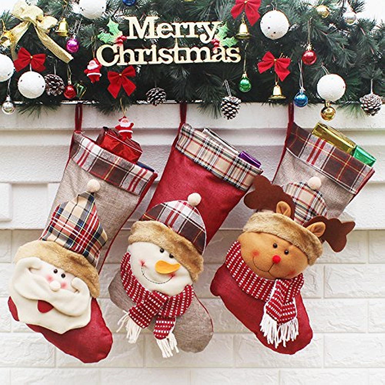 君のホームカザリ クリスマスクリスマスブーツ 大きい クリスマスソック クリスマスツリー飾り 靴下 サンタクロース 3個セット プレゼント袋 可愛い (2)