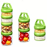 Baby Food Storage Containers Portable and Stackable 4-Piece Twist n' Lock Storage Jar for Healthy Snacking Food Reusable BPA