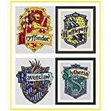Harry Potter Badge Counted Cross Stitch Kits 17x21 cm Each, 14ct Egyptian Cotton Floss, Counted Cotton Harry Potter Cross Sti