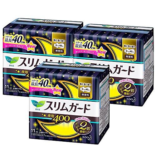 【まとめ買い】ロリエ スリムガード 特に多い夜用 羽つき 40cm 11コ入×3コセット(33コ)