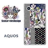 スカラー scr50308 スマホケース スマホカバー SHV33 シャープ SHARP AQUOS SERIE mini アクオス ネコドット フラワー 切り替えし柄 かわいいデザイン ファッションブランド