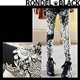 (ロンデルブラック) RONDEL-BLACK YM vintageフラワーレース柄 ワンピースに 総柄レギンス 10分丈 ストレッチ スパッツ レギパン 黒 ブラック