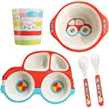 5 Piece Bamboo Dinnerware for Kids, Toddler, Car Plate and Bowl Set, Eco Friendly and Dishwasher Safe, Great Gift for Birthda