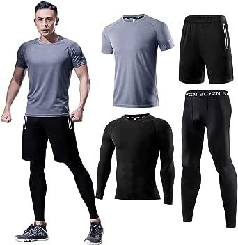 メンズ トレーニングウェア スポーツウェア 長袖 半袖 加圧インナー 上下セット コンプレッショントップス スポーツウェ 姿勢矯正 ランニングシャツ 4点セット グレー Gray-4P-M