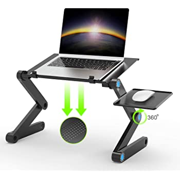 U-KISSノートパソコンスタンド PCスタンド パソコンデスク折り畳み式 マウススタンド搭載 ベッドテーブル ローテーブル 机上台 放熱用通気孔 高さ角度調節可能 アルミ製