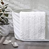 "Chenille Bath Rugs - Non Slip Shaggy Doormat for Bedroom Living Room, Super Absorbent Washable Bath Mat Carpet - 17""x24"",Whit"