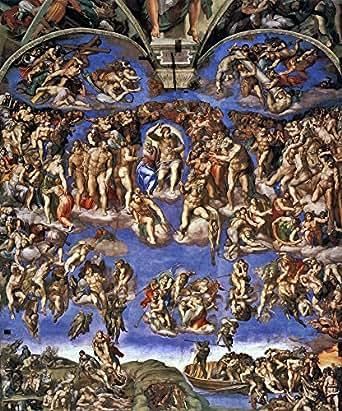 絵画風 壁紙ポスター(はがせるシール式) ミケランジェロ 最後の審判 1537-41年 システィーナ礼拝堂(ヴァチカン) キャラクロ K-MLG-002S2 (494mm×594mm) 建築用壁紙+耐候性塗料
