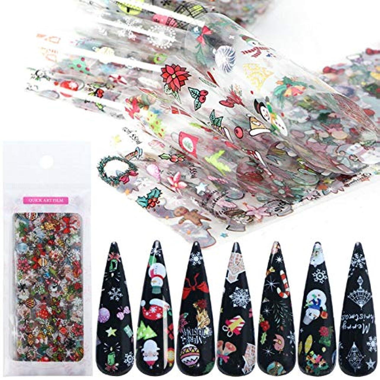 パートナートラップ保護10ピースクリスマステーマネイルアートステッカーネイルアートデカールネイルアートデコレーションスノーフレーク雪だるま花クリスマス関連ミックスデザイン