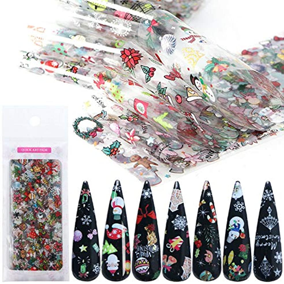 処理する罰詩10ピースクリスマステーマネイルアートステッカーネイルアートデカールネイルアートデコレーションスノーフレーク雪だるま花クリスマス関連ミックスデザイン