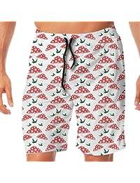メンズ水着 ビーチショーツ ショートパンツ ピンク キノコ マッシュルーム スイムショーツ サーフトランクス 速乾 水陸両用 調節可能