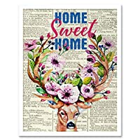 Home Sweet Home Stag Upcycle Style Dictionary Art Print Framed Poster Wall Decor 12x16 inch ホーム ホーム アップサイクル スタイル ポスター 壁 デコ